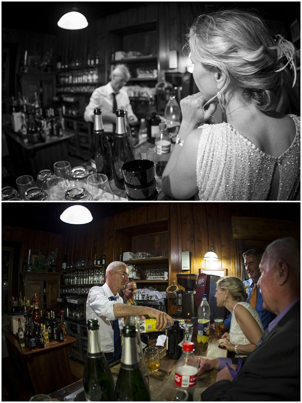groom behind the bar