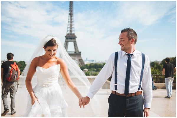 groom bride eiffel tower