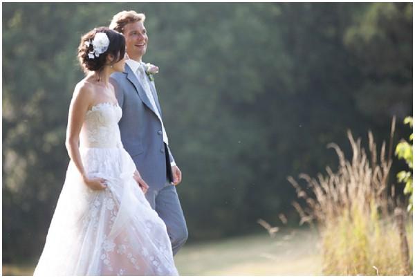 pretty bride in romantic gown