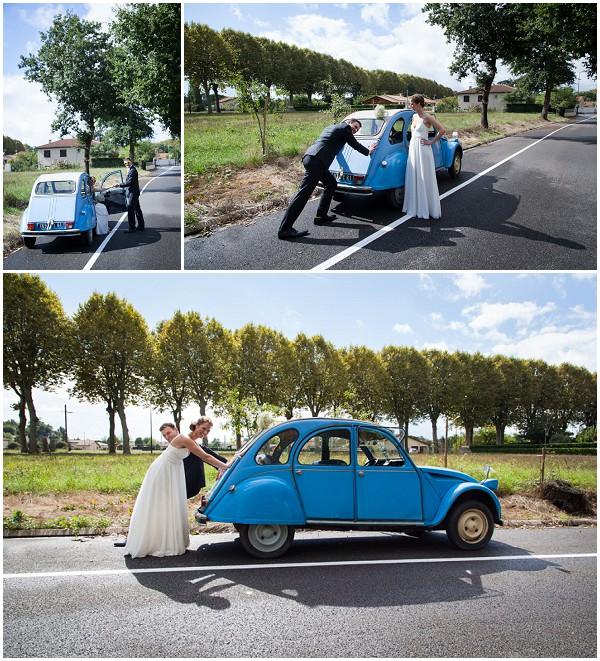 blue 2cv weddingcar