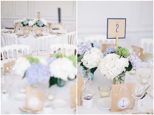 blue white wedding reception