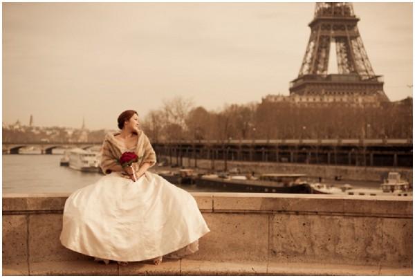 bride eiffel tower