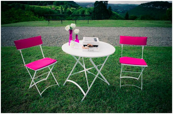 neon pink wedding chairs