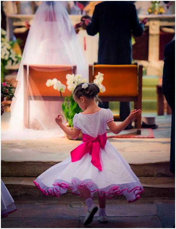 neon pink white bridesmaid