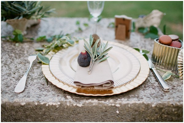 olive themed table setting