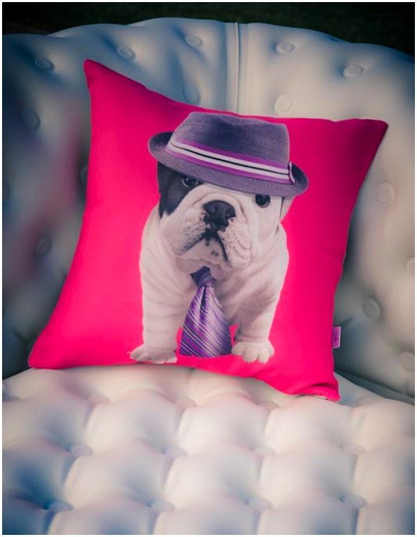 pink dog cushion