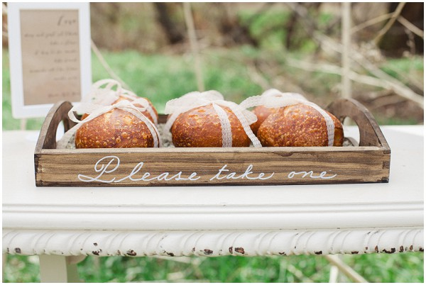 please take one, ribbon wrapped bread rolls