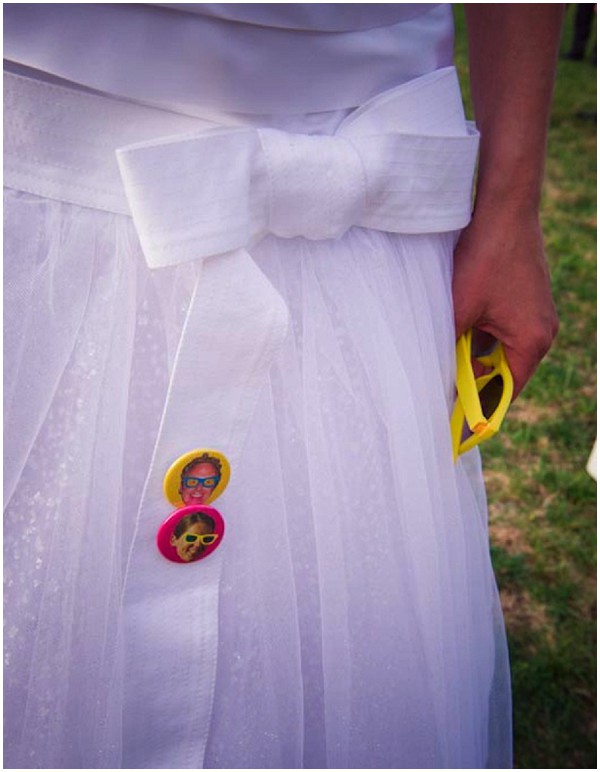 retro wedding pin badges