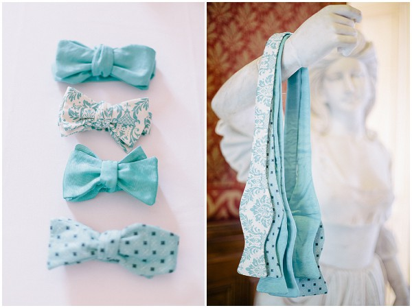 teal white bowties