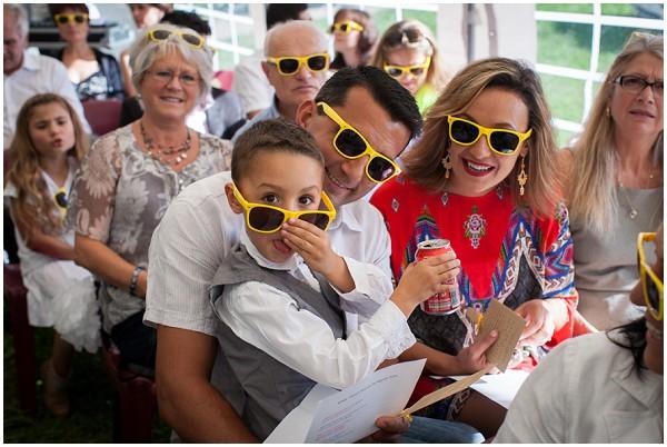 yellow sunglasses wedding-guests