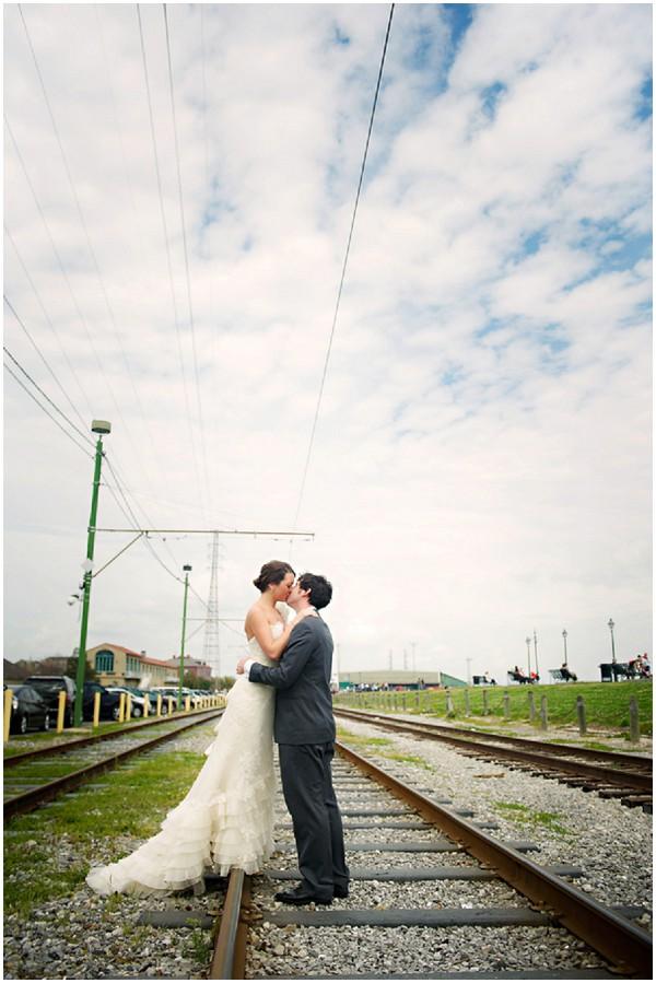 bride groom railway tracks