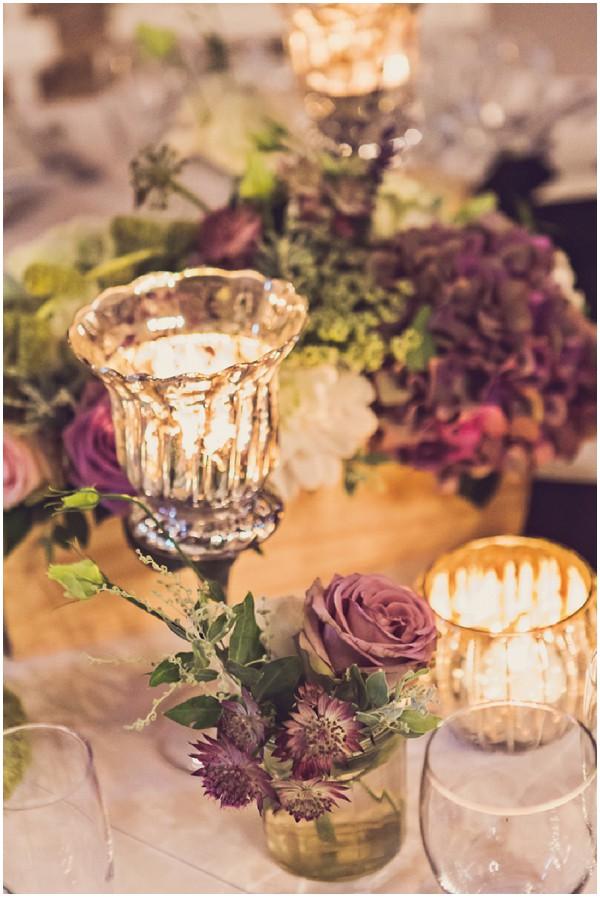 purple table flowers