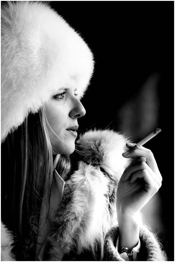 winter bride smoking