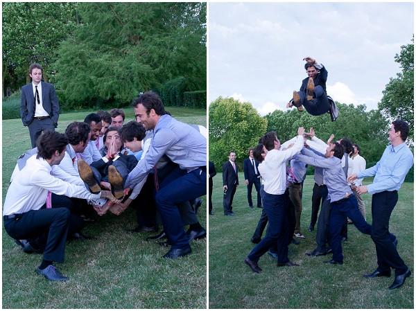 groom thrown in air