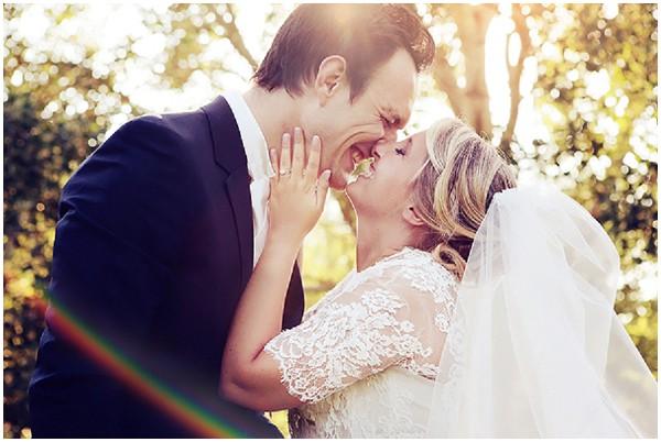 Lace wedding dress modelled on Kate Middleton's