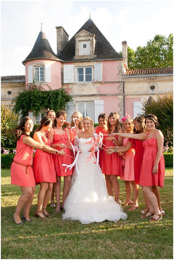 pink coral wedding france