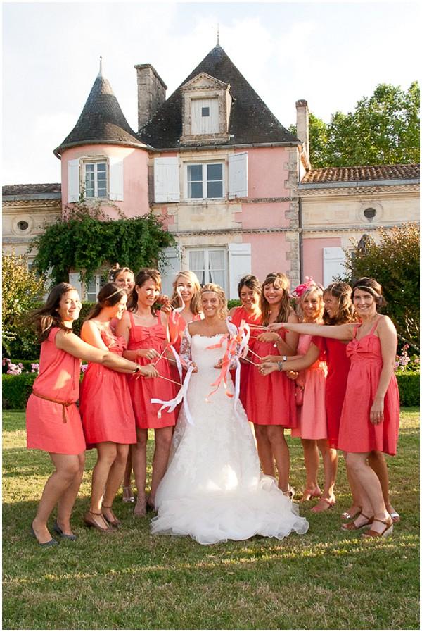 pink coral wedding france