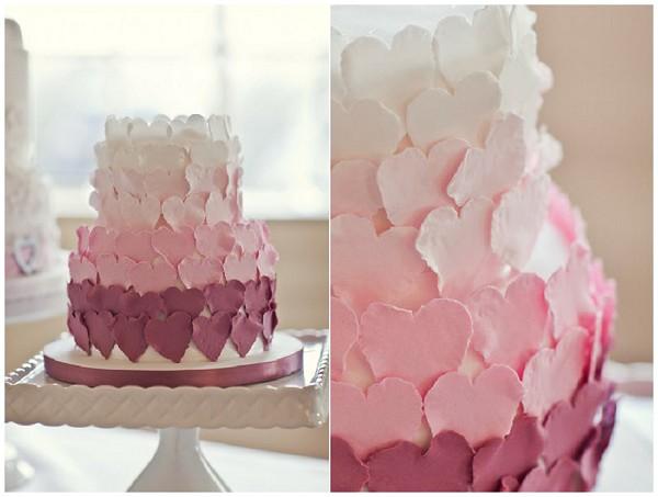 pink heart proposal cake