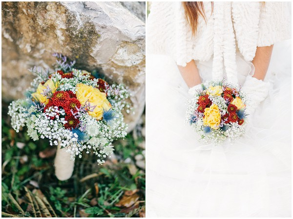 bright winter wedding bouquet