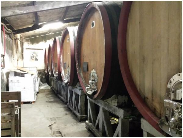 large wine barrels
