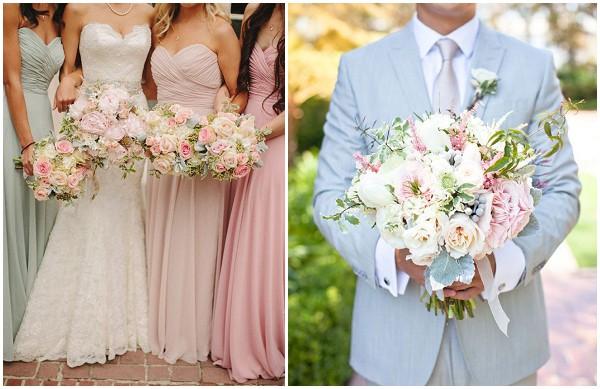 pastel bride groom