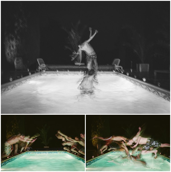 pool antics wedding day