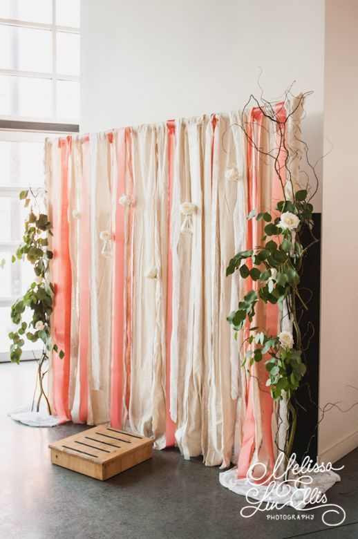 A DIY peach and cream backdrop