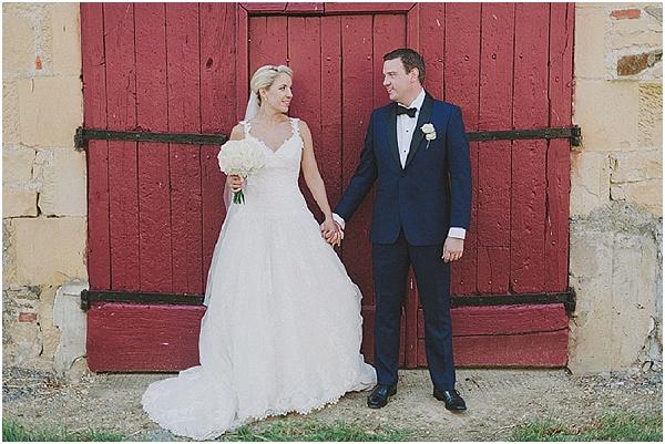 bride groom red door