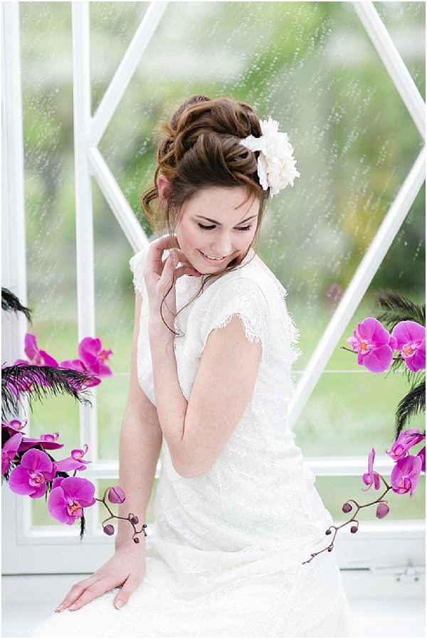 bride with pink orchids