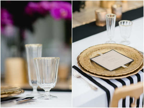 gold black wedding table
