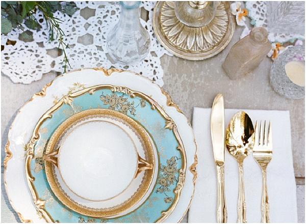 gold teal wedding setting