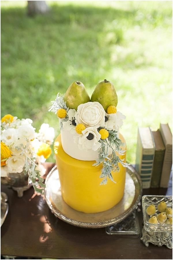 yellow white wedding cake