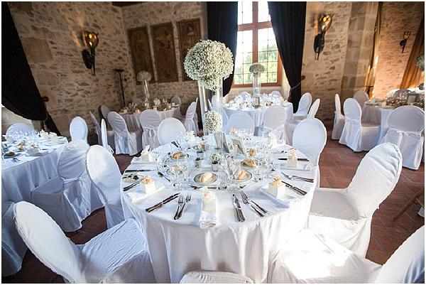 white silver wedding tables