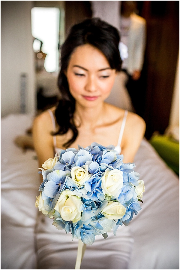 blue white bridal bouquet