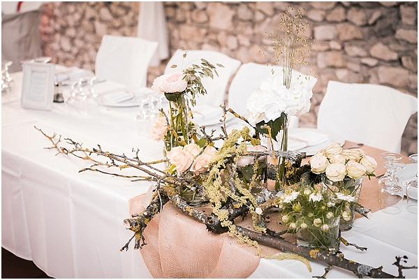 blush white wedding table flowers