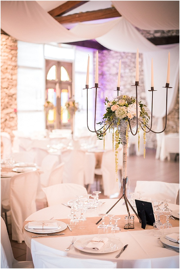 Candelabra romantic wedding centrepiece
