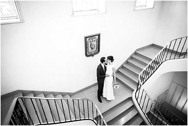 Dramatic staircase wedding