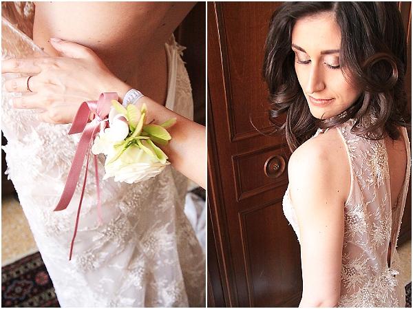 powder rose Pronovias wedding dress