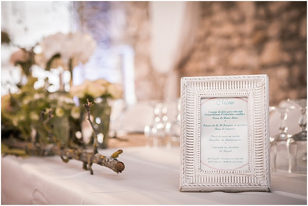 white frame wedding menu