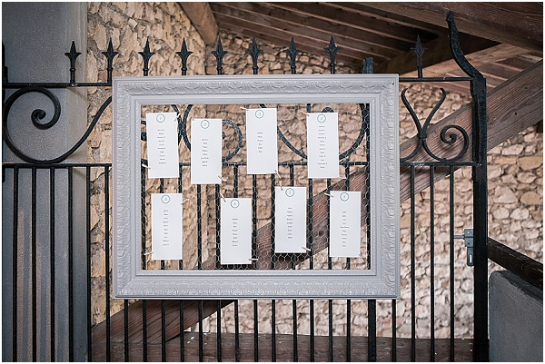 white picture frame tableplan
