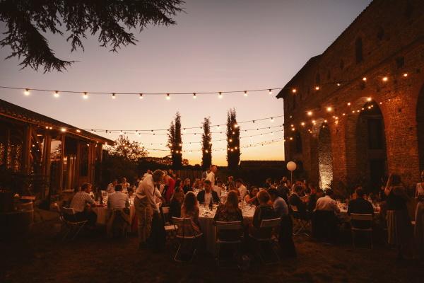 Domaine du Beyssac Festoon Lighting at Outdoor Wedding
