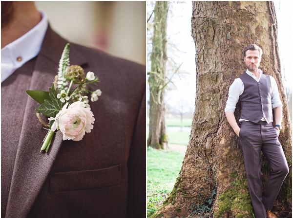 brown grooms suit