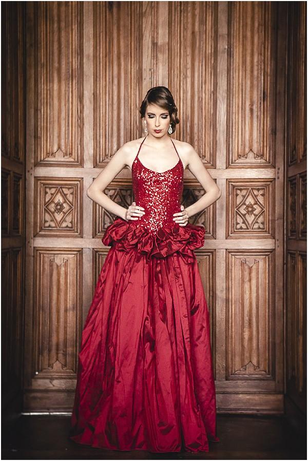 flame red halterneck dress