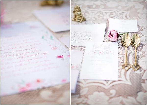 gold pink wedding stationery