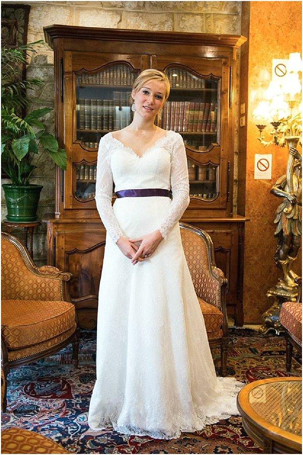 lace topped wedding dress