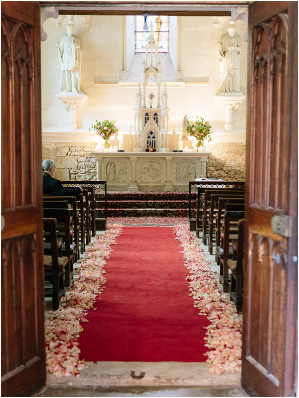 petal lined church