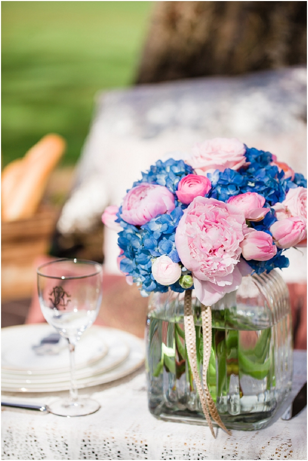 pink blue wedding flowers