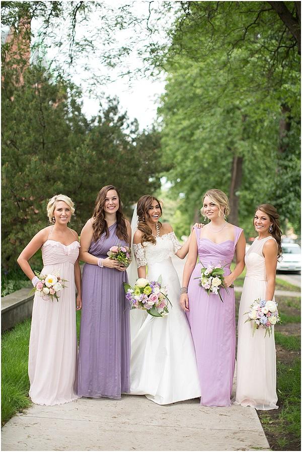 purple mix match bridesmaids