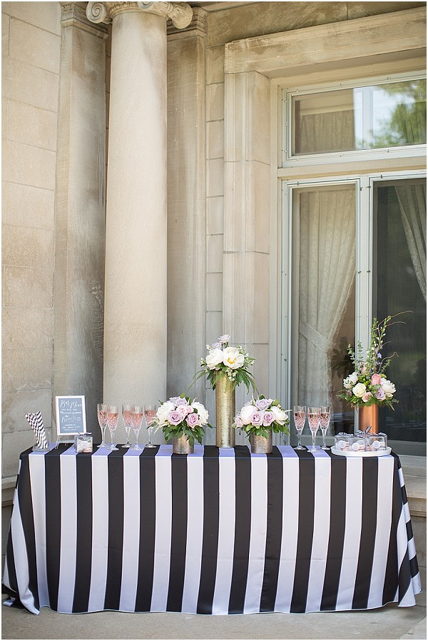 stripped wedding table
