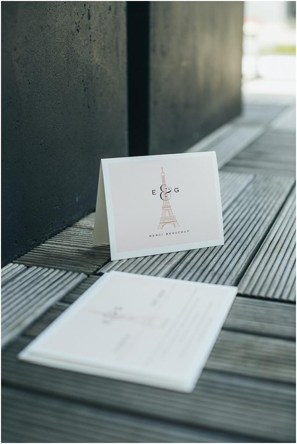 Paris wedding thankyou cards
